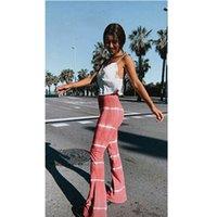 2020 готические Женщины Полосатый Flare Pant Брюки Элегантный офис дамы высокой талией брюк Stripe тонкий вскользь Pant Streetwear