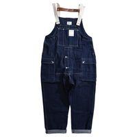 Männlich Japan Harajuku Street Hip Hop-Overall Latzhose Jeans Overalls Männer lose beiläufige breite Bein-Denim Cargo Pants