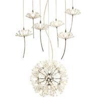 Europa candelabro de cristal Dandelion Vestuário Shop Restaurante Sala G4 LED Lighting Escadas Droplight Lâmpada da flor americano
