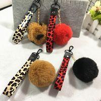 Бесплатная доставка искусственного меха кролика брелок длинная полоса леопарда ремешок брелок PU материал брелок автомобильные брелки сумка подвеска