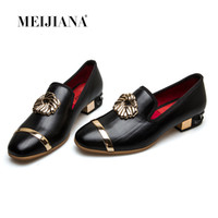 MEIJIANA 2018 Summer Women Pumps Tacco basso Design Nature Mocassini da donna in vera pelle