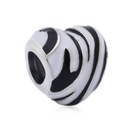 Autentico 100% 925 Sterling Silver Bead Charm Zebra Stripes In monocromatico Smalto Wild Stripes perline Cuore Fit Pandora Braccialetto Gioielli Fai Da Te