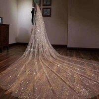 Lussuoso Sparkling Golden Wedding Veils 5m Lungo Wedding Bridal Capelli Accessori Accessori da sposa Accessori da damigella d'onore Velo Accessori da sposa