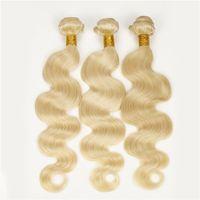 Irina peruviana dell'onda del corpo dei capelli di tessitura dei capelli di bellezza # 613 capelli biondi vergini 3pcs lotto Estensioni di remy dei capelli umani non trattata di grado 7A