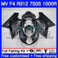 Cuerpo plano negro caliente Para MV Agusta F4 750S 1000R 312 1078 1 + 1 2005 2006 05 06 320HM.26 MA R312 MV F 4 05 1000 R 750 1000CC 05 06 Kit carenados