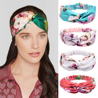 4 Colori trasversali Stampa fascia accessori per capelli Boemia estate hairband per le donne Scrunchie lavaggio faccia Turbante Accesorios para el Cabello GJJ210