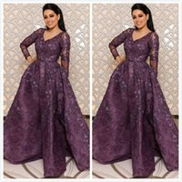 Lace Beaded Purple Arabic 2019 Evening Dresses Deep V- neck L...