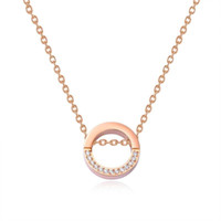 Good Quality Rose Gold Stainless Steel Blank Plain Tiny Circle Necklace High Polished Simple Pendant Necklace For Women Lady Birthday Gift