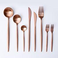 newRose d'or de vaisselle Vaisselle fourchette couteau cuillère en acier inoxydable mat Western Gold Métal Rose dîner couteau fourchette Flatware fixe T2I5332