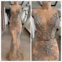 Champagne Luxurious Mermaid 2019 African Dubai Abiti da sera Sheer Neck Lace Beaded Prom Dresses Sexy Party Formale Abiti da damigella d'onore