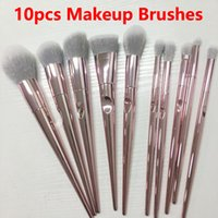 Make-up Brushes10pcs Pinsel Set Rose Gold Make-up Pinsel Lidschatten Puder Konturbürsten-Kits Schönheit Kosmetik-Werkzeuge