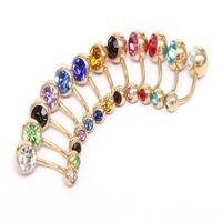 Nueva 316L el ombligo de acero quirúrgico anillos cristalinos del Rhinestone del botón del ombligo del vientre anillo de la barra joyería piercing del cuerpo WCW711