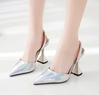 with box size 5 to 41 sexy sivler goldsling back pointed pumps bridal wedding shoes designer high heels fashion luxury designer women shoes