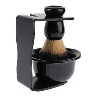 3 en 1 brosse de rasage poignée de blaireau tasse de rasage synthétique titulaire support de rasoir ensemble barbe brosse pour barbier hommes