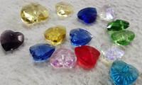 Perles de verre cristal 50pcs, Brioleete coeur amour à facettes blanc-violet-jaune -vert pour le bricolage Craft Boucles d'oreilles Bijoux Faire 6 mm 8 mm 10 mm