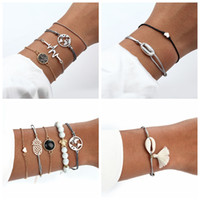 4 Estilo de playa Charm Love Beads Multi-Layer Bracelet Ladies Boho Elegante Retro Pulsera Set Joyería de las señoras