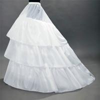 جودة عالية الأبيض التنورة الداخلية قطار قماش قطني تحتية 3 طبقات 2 الأطواق لفساتين الزفاف أثواب الزفاف