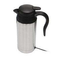 Paslanmaz Çelik 12V Elektrikli Kettle 750ml In-Car Travel Seyahat Kahve Çay Isıtmalı Mug Motorlu Sıcak Su İçin Araç Veya Kamyon Kullanımı sıcak