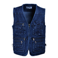 رجل الدينيم سترات واقية معاطف زائد حجم سترة جينز متعدد جيب التصوير الدينيم سترة بلا أكمام ذكر القمم