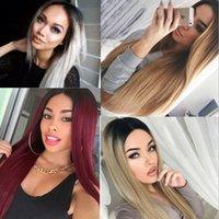 HOT lange gerade natürlich aussehende Haare glueless Spitzefront wi volle Haarspitze Perücke für Afroamerikanern Frau hitzebeständig
