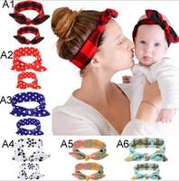Multi Farben Mutter Baby-Kaninchen-Stirnbänder Tupfen Blumen Print Kinder Haar-Accessoires Mode schöne Bogen Kinder Baby Eltern Haarband