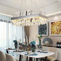 2021 moderno candelabro de cristal para sala de jantar retângulo design cozinha ilha de iluminação elétrica cromo led cristal lustre federal express