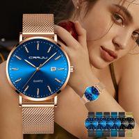 Pulsera Mujer Moda CRRJU mujeres de lujo reloj ocasional impermeable señoras del cuarzo del vestido Relojes regalo del amante del reloj del relogio feminino
