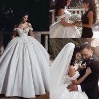 2019 Великолепный арабский от плеча атласное шариковое платье свадебные платья из бисера 3d цветочный корт поезда свадебные платья свадебные платья