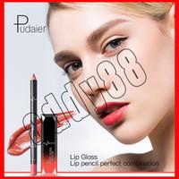Nouveau Pudaier Mat Brillant À Lèvres Maquillage Cosmétiques Étanche Lipgloss Mat + Liner Crayon Crayon 2 en 1 Ensemble Mat Batom Kit Maquillage Lèvres