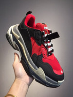 Triple S Red Sneaker Paris Shoes calçados casuais Triple S Trainers Walking Shoe Marca Old Sneakers