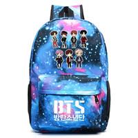 WISHOT BTS حقيبة الظهر غالاكسي حقائب مدرسية حقيبة الكتب أزياء الأطفال حقيبة الكتف الطلاب على ظهره حقيبة سفر للمراهقين