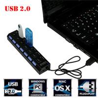 USB 2.0 Multi Charger Hub + High Speed Adapter 7-Port ON / OFF Schalter Laptop / PC-USB-Ladegerät
