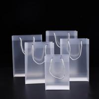8 größe frostig pvc plastik geschenkbeutel mit griffe wasserdichte rransparent pvc tasche klare handtasche party favors geschenk wrap xd23051