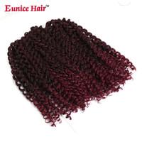 헤어 벌크 합성 블랙 곱슬 꼰 번들 확장 10 인치 순수한 크로 셰 뜨개질 여성을위한 고온 섬유 Eunice