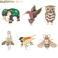 Chegada nova Bonito Pássaros Folower Coruja Broche De Cristal Liga de Ouro Camisa Denim Pin Broches Para As Mulheres Emblema Mochila Saco Chapéus Acessórios