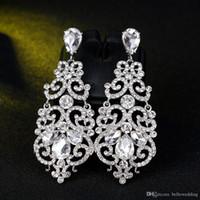 2018 joyería nupcial del partido de baile de cristal Pendientes de diamantes de imitación Pendientes de boda joyería y accesorios para mujeres BW-039