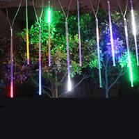 UAE 10st / set Vattentät RGB-färg LED Vattenfall Ljus 30cm 50cm 80cm AC85-265V Röd IP65 Linjär Strip Bar Metero Lampa Dekotionsbelysning