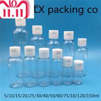 50 Stück 60 100 150 ml transparenter Plastikpaket Clamshell-Wasser-Flasche Crystal Clear Flip Top Cap Verpackungen Leere
