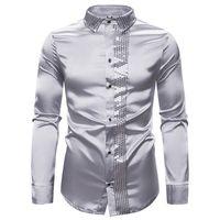 2020 Весна дизайнер Slim Fit мужская повседневная рубашка Light Face сращивание с длинными рукавами отложным воротником Мужские рубашки повседневная одежда
