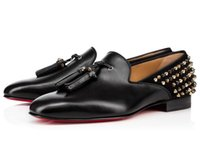 Luxury Designer red bottoms men flat red bottom wedding dress shoes loafers  with spikes   tassels black leather shoes designer free shipping 89adc5036e8d