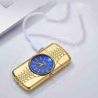 Novità colorato frangivento orologio elettronico Design innovativo di ricarica USB Accendino con il LED per il fumo di sigaretta tubo molteplici usi regalo