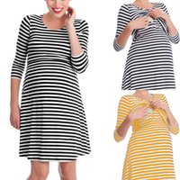 DHL Maternity Nursing Dress Striped Mom dresses Homewear Cot...