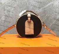 Canvas genuine leather Circular Boite Bags Women Shoulder ba...