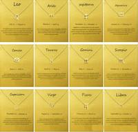 Kartı Zodiac ile Moda Hayır dogeared Logo Altın Kaplama Leo / Koç / Başak kolye Zincir kolye gerdanlık Clavicle Takı Hediye kadın Sign