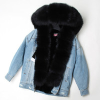 2019 горячие MAOMAOKONG марка черная лиса меховой отделкой с капюшоном порог женские теплые куртки черная лиса и кролик меховая подкладка светло-голубой Демин мини-парки
