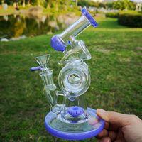 14mm único doble al reciclado del vidrio Bong Slitted dona Perc Embriagador de cristal Bongs Vaso de aceite del coche lateral del tubo de agua Dab Rigs Mujer conjunta con el tazón de fuente