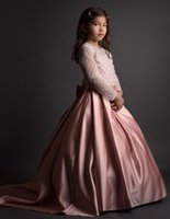 Fancy Flower Girl Dress Floor Length Satin Long Sleeves Page...