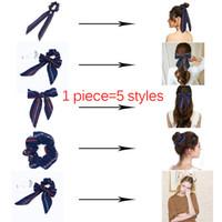 AWAYT Arc Banderoles Bague À Cheveux De Mode Ruban Fille Bandes À Cheveux Chouchous Cravate Prêle Cravate Solide Coiffure Accessoires