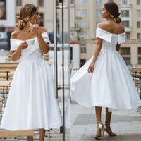 Simple Tea Length Wedding Dresses Off The Shoulder Lace- Up B...