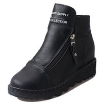Sonbahar Kış Kama Ayak bileği Boots Kahverengi Gri Siyah Bayan Çizme Deri Çift Fermuar Bayan Ayakkabıları Botaş De Invierno De Las Mujeres 2020